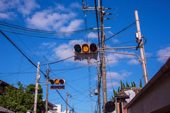 Japan Traffic Light in Yellow Stock Photo