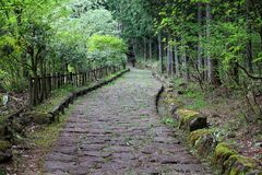Japan trail. Japan - historic Nakasendo trail near Magome. Old travel route hundreds of years old Royalty Free Stock Images