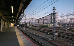 Japan train platform at JR Kyoto Station. Stock Photography