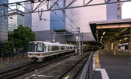 Japan train platform at JR Kyoto Station. Stock Photo
