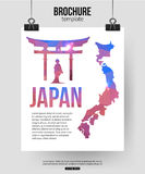 Japan travel background. Brochure with Japan map Stock Photo