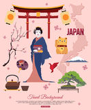 Japan travel background with place for text. Set. Of colorful flat icons, Japan symbols for your design. Vector illustration royalty free illustration