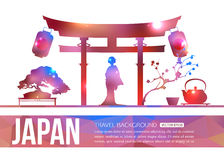 Japan travel background with place for text. Japan shining sightseeings and symbols. Geometric and blurred style design. Vector illustration stock illustration