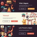Japan travel banners set with landmarks, famous Japanese symbols Royalty Free Stock Photo