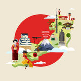Japan travel concept with famous attractions. Stock Photo