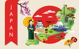 Japan travel concept with famous attractions. Royalty Free Stock Photos
