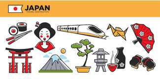 Japan travel destination promotional poster with cultural symbols Stock Photo