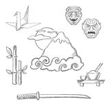 Japan travel elements in sketch style Royalty Free Stock Photo
