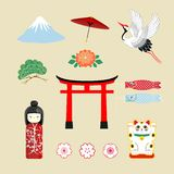 Japan travel elements, traditional culture symbols collection in screen printing, Japan travel in Japanese word placed stock illustration