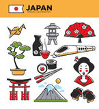 Japan travel famous landmarks and Japanese culture traditional tourist attractions vector icons. Japan travel famous landmark symbols and culture tourist Royalty Free Stock Image
