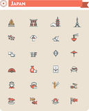 Japan travel icon set Royalty Free Stock Images