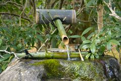Japan Travel Japanese Bamboo Water Fountain Noise Maker April 2018 stock photo