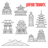 Japan travel landmarks thin line icons Royalty Free Stock Photo