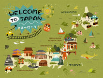 Japan travel map. Famous attractions on the island, Let`s go to Japan words in Japanese Stock Images