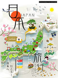 Japan travel map Stock Photo