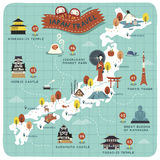 Japan travel map Royalty Free Stock Photo
