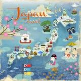 Japan travel map Royalty Free Stock Photos