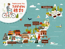 Japan travel map. With a man riding bike, lovely attractions on the island. Travel words in Japanese on the upper left Royalty Free Stock Image