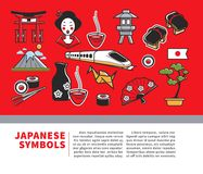 Japan travel poster of Japanese sightseeings symbols and famous culture landmarks icons. Japan travel poster of Japanese famous landmark symbols and culture Stock Photos