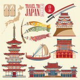Japan travel poster on light background - travel to Japan. Royalty Free Stock Photos