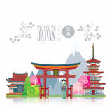 Japan travel poster on light background - travel to Japan. Royalty Free Stock Photo