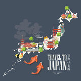 Japan travel poster with map on dark background - travel to Japan. Japan in Japanese. Land of the rising sun in Japanese words. Vector illustration with travel Royalty Free Stock Photography