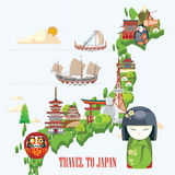 Japan travel poster with map - travel to Japan. Stock Image