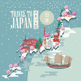 Japan travel poster with snow map - travel to Japan. Stock Photos