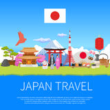 Japan Travel skyline Flat Composition Advertisement Poster Royalty Free Stock Photos