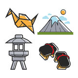Japan travel symbols and culture or famous landmark vector icons set. Japan travel symbols and culture or famous landmark attractions. Vector icons of Japanese Stock Photos