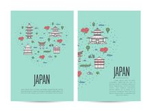 Japan travel tour booklet set in linear style Stock Photography