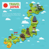 Japan travel vector map with traditional japanese landmarks Royalty Free Stock Photography