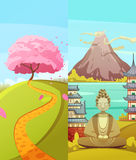 Japan 2 Travel Vertical Banners Set Royalty Free Stock Image