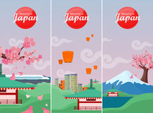 Japan Travelling Banner. Japanese Landmarks Stock Photos