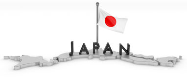 Japan Tribute. 3D rendered map of Japan with flag and logo Royalty Free Stock Photos