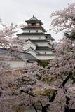 Japan : Tsurugajo Castle in Spring royalty free stock photography