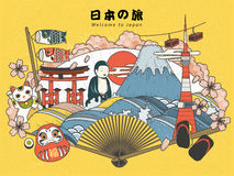 Japan turismaffisch royaltyfri illustrationer