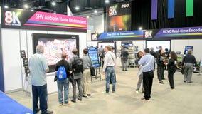 Japan ultra HD television broadcasting demo, NAB Show 2014, USA,. LAS VEGAS, NV - APR 09: NHK presents Hi-Vision 8K video system during NAB Show 2014 exhibition stock footage