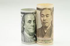 Japan and USA, United State America relationship or economics world major countries concept, Japanese Yen and US Dollar banknote stock photography