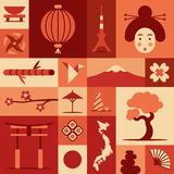Japan, vector flat illustration, icon set, landmark background. Bonsai, flower, stone, fun, woman face, lantern, food, flag, stock illustration