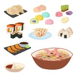 Japan vector food traditional meal cooking culture sushi. Roll and seafood lunch japanese asian cuisine illustration Royalty Free Stock Images
