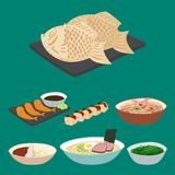 Japan vector food traditional meal cooking culture sushi roll and seafood lunch japanese asian cuisine illustration.  Stock Image