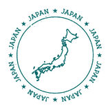 Japan vector map. Retro vintage insignia with country map. Distressed visa stamp with Japan text wrapped around a circle and stars. USA state map vector Royalty Free Stock Photo