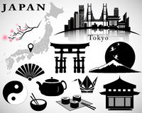 Japan vector set: symbols of Japan, map, Tokyo skyline, icons Royalty Free Stock Photos