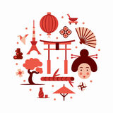 Japan, vector vlakke illustratie, pictogramreeks Royalty-vrije Stock Afbeeldingen