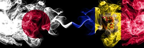 Japan versus Andorra, Andorrese rokerige zij aan zij geplaatste mysticusvlaggen Dik gekleurde zijdeachtige rookcombinatie van And vector illustratie