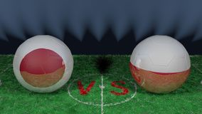 Japan versus Poland. 2018 FIFA World Cup.Original 3D image. June 28, Japan vs Poland 2018 FIFA World Cup.Original 3D image. Two balloons above a soccer field Royalty Free Stock Photos