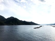 Japan, view from the lake to the mountains. royalty free stock photography