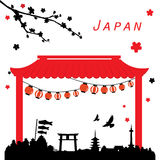 Japan View Travel Black and Red Vector Royalty Free Stock Photo