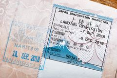 Japan visa stamp. Japanese passport stamp for entring the country royalty free stock photography